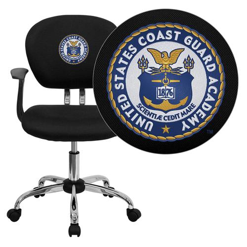 United States Coast Guard Academy Embroidered Black Mesh Task Chair with Arms and Chrome Base