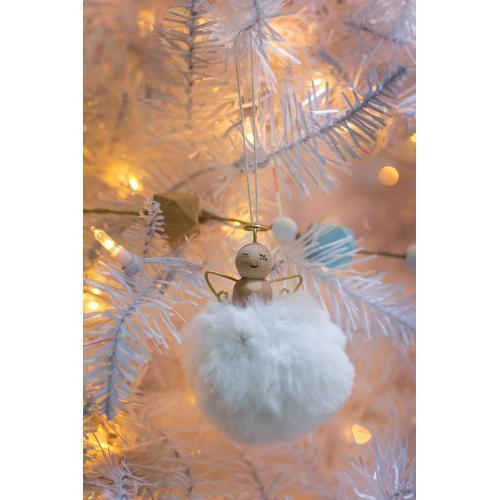 "3"" x 3.5"" White Angel Puff Ornament"