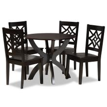 See Details - Baxton Studio Anila Modern and Contemporary Dark Brown Finished Wood 5-Piece Dining Set