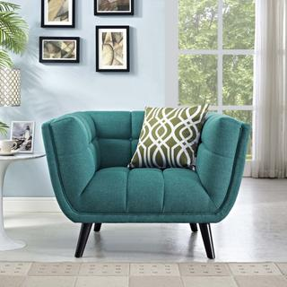 Bestow Upholstered Fabric Armchair in Teal