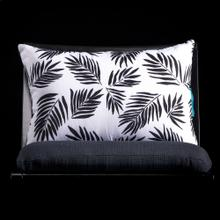 BLACK PALM LUMBAR PILLOW  3in X 20in  Black & White Palm Pillow. Vibrant colors and bold pattern c