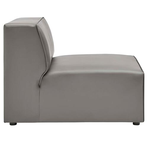 Mingle Vegan Leather Armless Chair in Gray