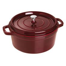 Staub Cast Iron 7-qt Round Cocotte - Visual Imperfections - Grenadine