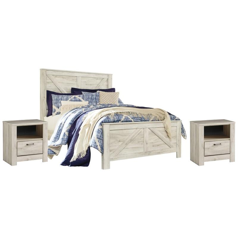 View Product - Queen Crossbuck Panel Bed With 2 Nightstands