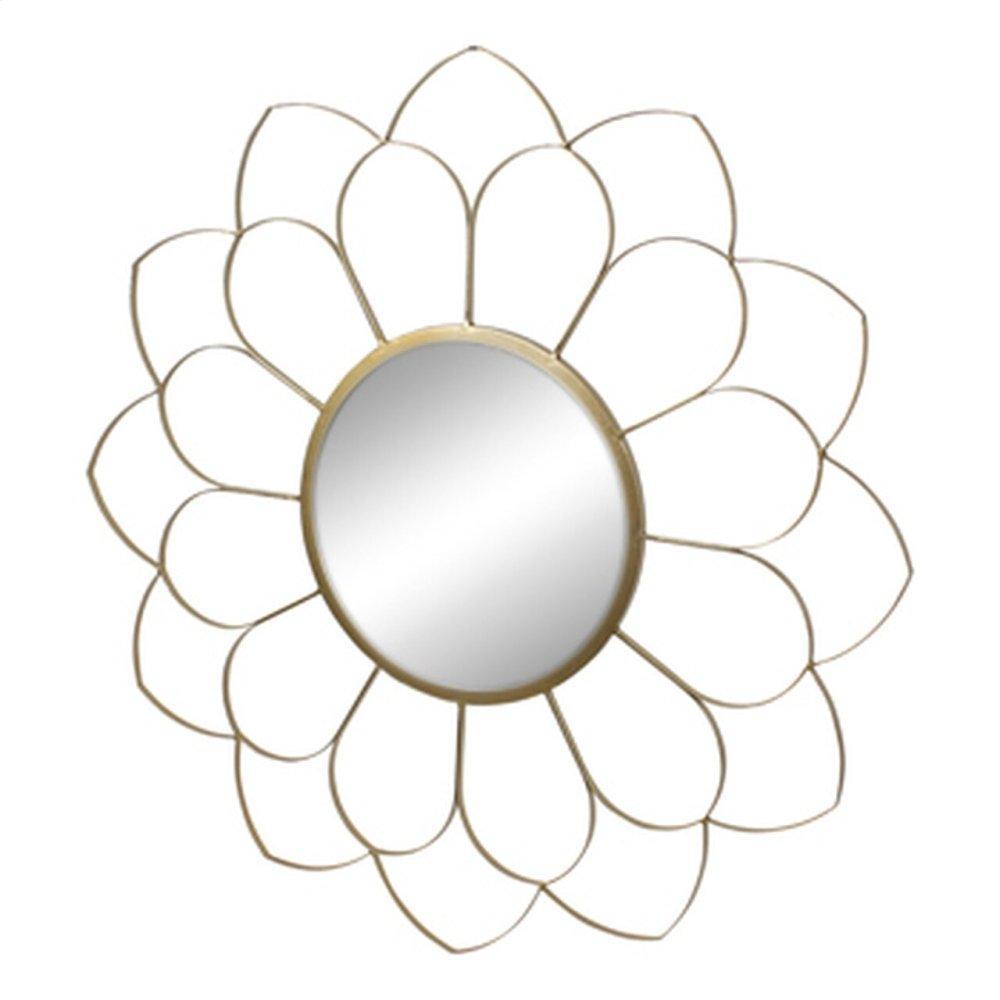 "Metal 33"" Flower Mirror, Gold Wb"