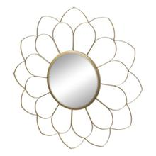 "Metal 33"" Flower Mirror, Gold Wb"
