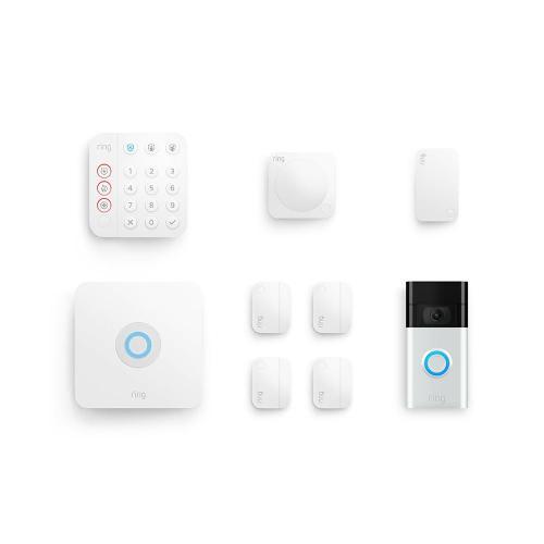 8-Piece Alarm Security Kit + Video Doorbell (2020 Release) (for 2nd Generation) - Satin Nickel: Ships 1/18 - 1/21