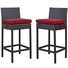 Lift Bar Stool Outdoor Patio Set of 2 in Espresso Red