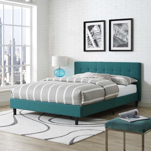 Linnea Queen Fabric Bed in Teal