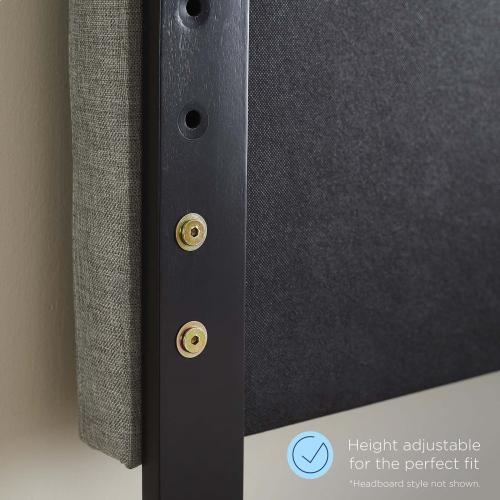 Collins Tufted Twin Fabric and Wood Headboard in Walnut Beige