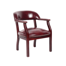 Traditional Captain's Chair Conference Chair Vinyl Leather - Available both with and without casters - Burgundy