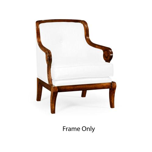 Shallow carved walnut occasional chair, Frame only