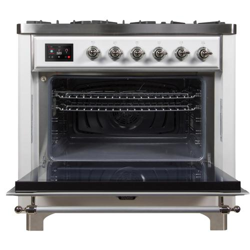 Majestic II 36 Inch Dual Fuel Liquid Propane Freestanding Range in White with Chrome Trim