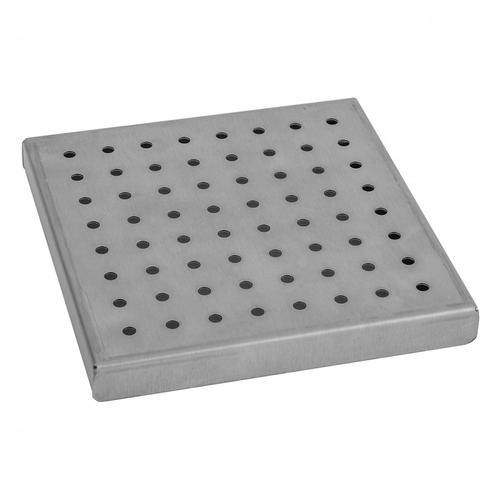 """Polished Stainless - 6"""" x 6"""" Round Dotted Channel Drain Grate"""