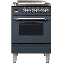 Nostalgie 24 Inch Gas Natural Gas Freestanding Range in Blue Grey with Chrome Trim