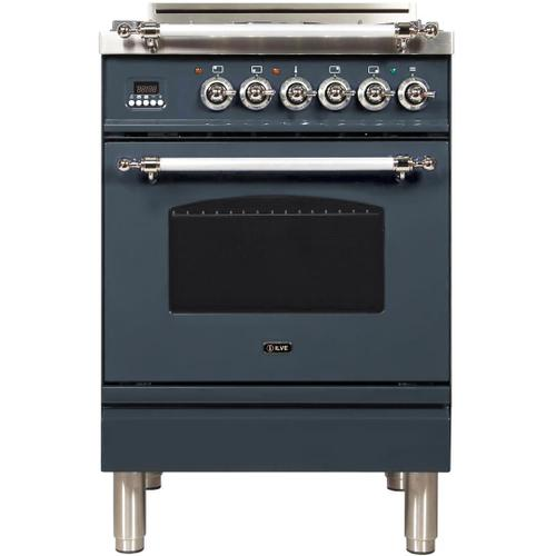 Ilve - Nostalgie 24 Inch Gas Natural Gas Freestanding Range in Blue Grey with Chrome Trim