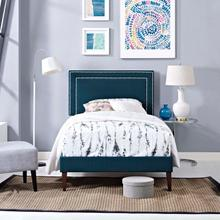 View Product - Virginia Twin Fabric Platform Bed with Squared Tapered Legs in Azure