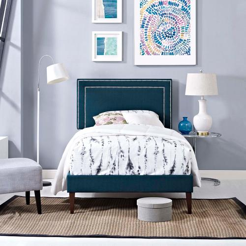Modway - Virginia Twin Fabric Platform Bed with Squared Tapered Legs in Azure