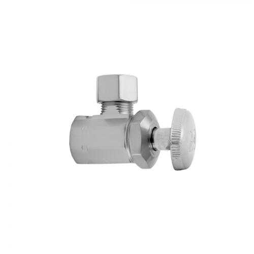 "Polished Brass - Multi Turn Angle Pattern 1/2"" IPS x 3/8"" O.D. Supply Valve with Oval Handle"