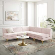 Triumph Channel Tufted Performance Velvet 5-Piece Sectional Sofa in Pink