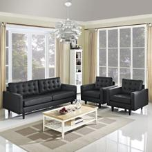 Empress Sofa and Armchairs Set of 3 in Black