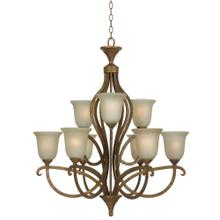 60W X 9 EMMETT HAND FORGED IRON 9 LIGHT CHANDELIER WITH GLASS SHADES