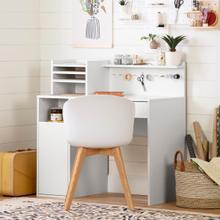 Crea - Craft Table with Hutch, Pure White