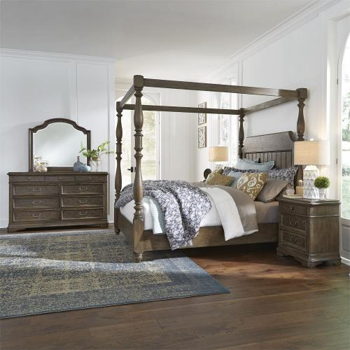 King Canopy Bed, Dresser & Mirror, Night Stand