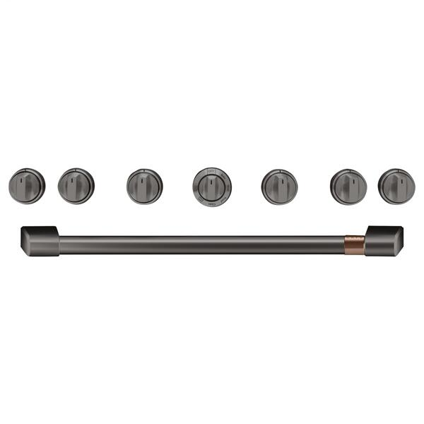 "Café 36"" Brushed Black Handle & Knob Set for Pro Range and Rangetop"