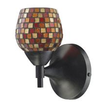 See Details - Celina 1-Light Wall Lamp in Dark Rust with Multi-colored Mosaic Glass