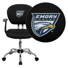 Emory University Eagles Embroidered Black Mesh Task Chair with Arms and Chrome Base