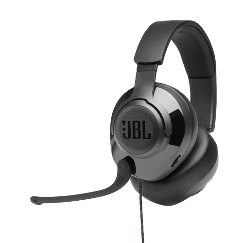 JBL Quantum 200 Wired over-ear gaming headset with flip-up mic