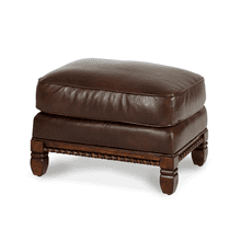 See Details - Wood Trim Leather Chair Ottoman - Opt1