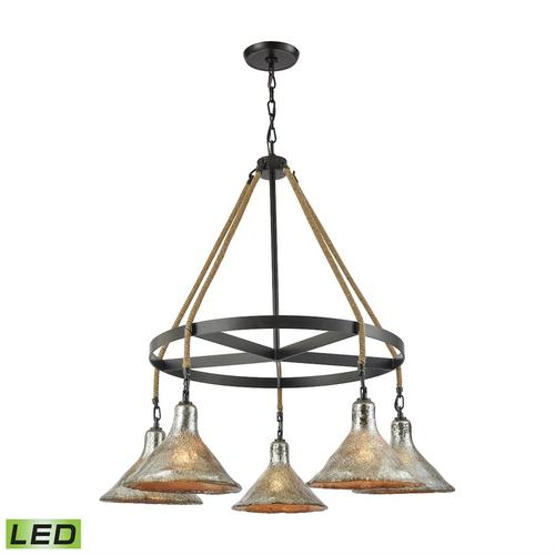 Hand Formed Glass 5-Light Chandelier in Oiled Bronze with Mercury Glass - Includes LED Bulbs