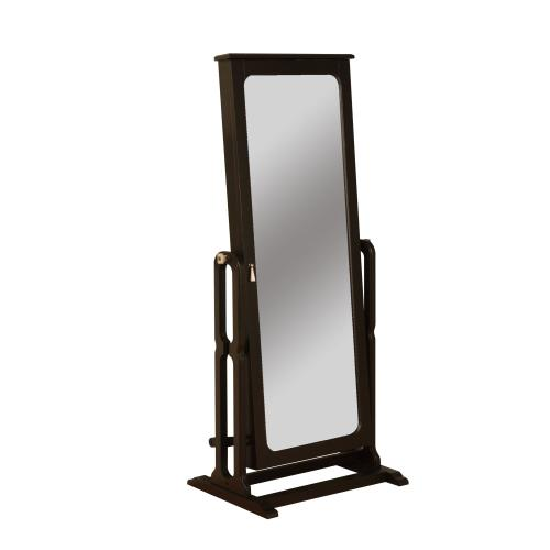 Cheval Jewelry Wardrobe and Full Length Adjustable Mirror, Antique Black and Brown