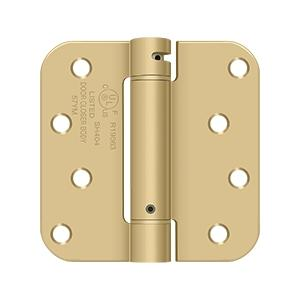 "4"" x 4"" x 5/8"" Spring Hinge, UL Listed - Brushed Brass"
