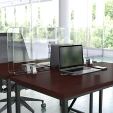 """Product Image - Clear Acrylic Desk Partition, 18""""H x 47""""L (Hardware Included)"""