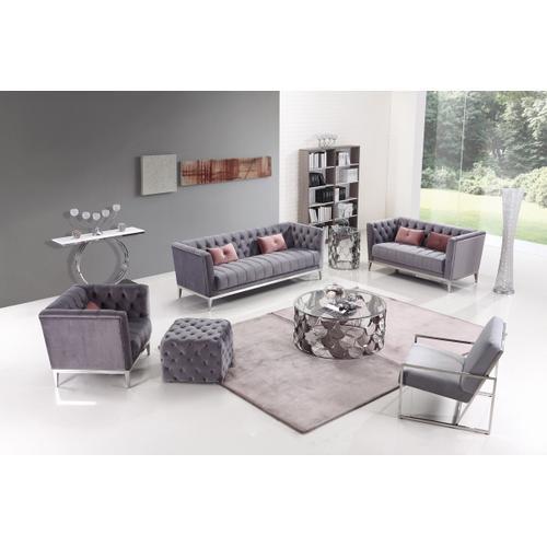 Divani Casa Loftis Transitional Grey Velvet Sofa Set