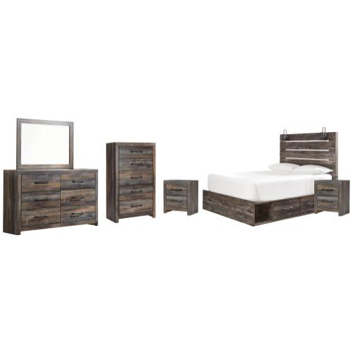 Product Image - Queen Panel Bed With 2 Storage Drawers With Mirrored Dresser, Chest and 2 Nightstands