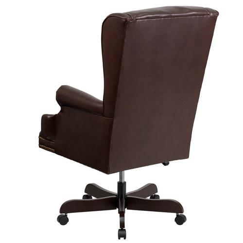 Gallery - High Back Traditional Tufted Brown LeatherSoft Executive Ergonomic Office Chair with Oversized Headrest & Nail Trim Arms