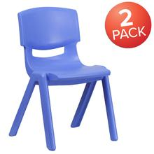 "2 Pack Blue Plastic Stackable School Chair with 15.5"" Seat Height"