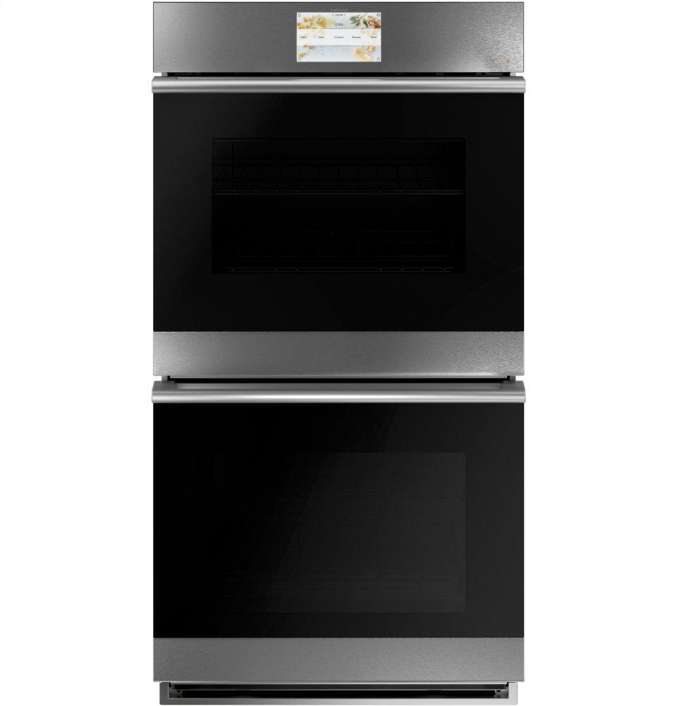 """Cafe Appliances27"""" Smart Double Wall Oven With Convection In Platinum Glass"""