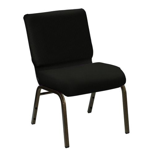 Wellington Black Upholstered Church Chair - Gold Vein Frame