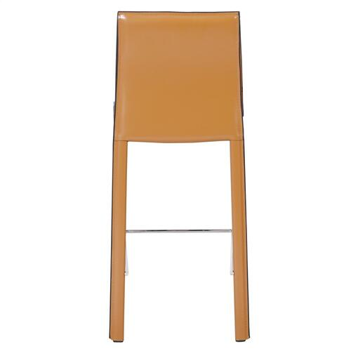 Gervin Recycled Leather Counter Stool, Chestnut