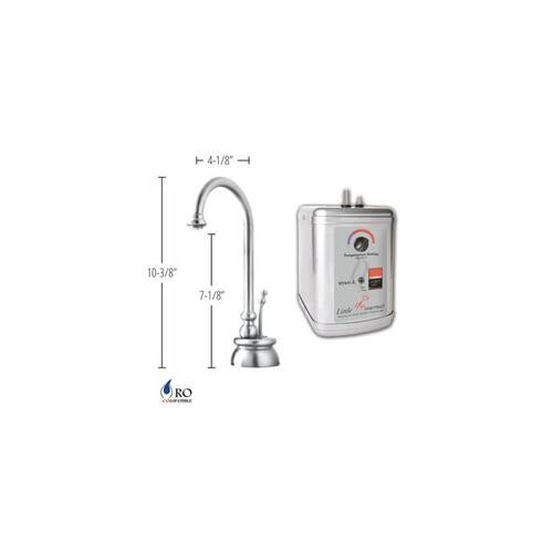 Hot Water Faucet with Traditional Body & Single Tilt Lever & Little Gourmet® Premium Hot Water Tank - Antique Brass