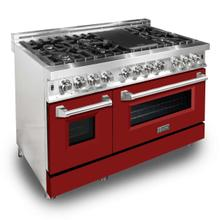 ZLINE 48 in. Professional Dual Fuel Range with Red Matte Door (RA-RM-48)