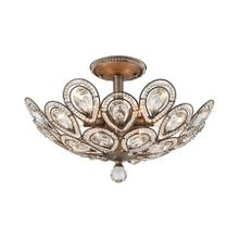 Evolve 6-Light Semi Flush in Weathered Zinc with Clear Crystal