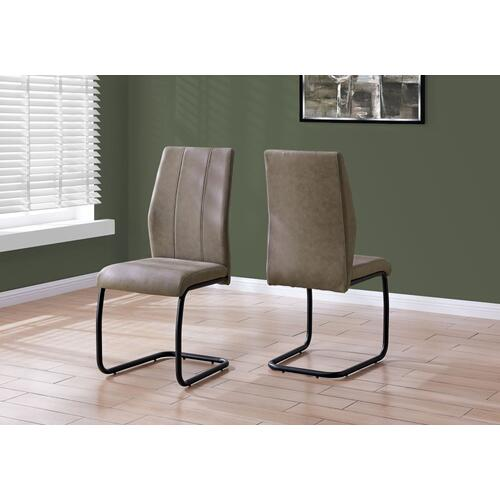 """DINING CHAIR - 2PCS / 39""""H / TAUPE FABRIC / BLACK METAL"""