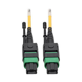 MTP/MPO (APC) Singlemode Patch Cable (F/F), 12 Fiber, 40/100 GbE, QSFP+ 40GBASE-PLR4, Plenum, Push/Pull Tab, Yellow, 2 m (6.6 ft.)