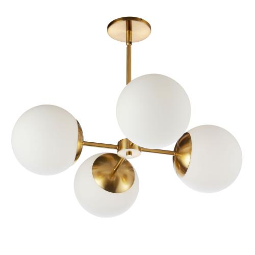4lt Chandelier, Agb W/ Wh Glass